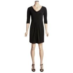 Eliza J Matte Jersey Drape Neck Dress - Tie Back, 3/4 Sleeve (For Women)
