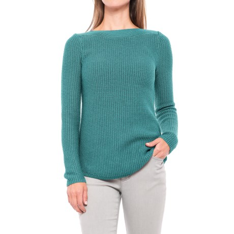 Kenar Cotton-Blend Textured Sweater - Boat Neck (For Women)