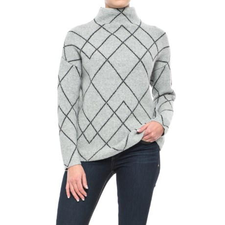 Artisan NY Recovery Yarn Jacquard Sweater - Wool Blend, Funnel Neck (For Women)