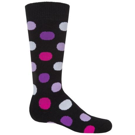 Bula Headwear and Accessories Bula Thermal 200 Dot Ski Socks - Merino Wool Blend, Over the Calf (For Little and Big Kids)