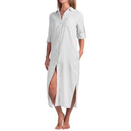 Yummie by Heather Thomson Cotton Voile Nightshirt - Button-Down Collar, Long Sleeve (For Women)