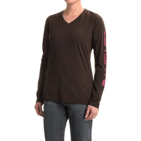 Carhartt V-Neck Logo T-Shirt - Long Sleeve, Factory Seconds (For Women)