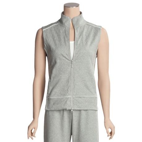 Joan Vass Quilted Zip Vest - Stretch Cotton (For Women)