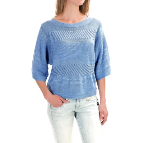 Pendleton Mixed Media Crop Sweater - Elbow Sleeve (For Women)