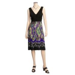 Jessica Howard Jersey Dress - V-Neck, Printed Skirt, Sleeveless (For Women)