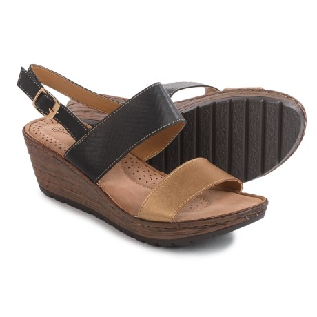 Henry Ferrera Double-Strap Wedge Sandals - Vegan Leather (For Women)