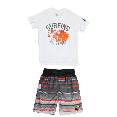 Laguna Point Break Shirt and Boardshorts Set - UPF 50, 2-Piece, Short Sleeve (For Little Boys)