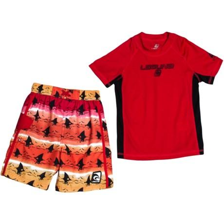 Laguna Shark Tank Rash Guard and Swim Trunks Set - UPF 50, 2-Piece, Short Sleeve (For Little Boys)