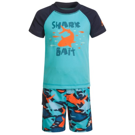 Laguna Shark Bait Rash Guard and Swim Trunks Set - UPF 50, 2-Piece, Short Sleeve (For Toddler Boys)