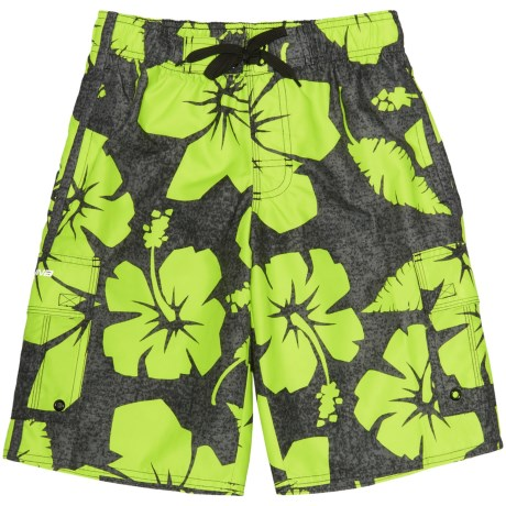 Laguna Hibiscus Dude Swim Trunks - UPF 50 (For Big Boys)
