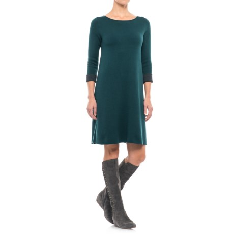 Artisan NY Boat Neck A-Line Double Knit Dress - 3/4 Sleeve (For Women)