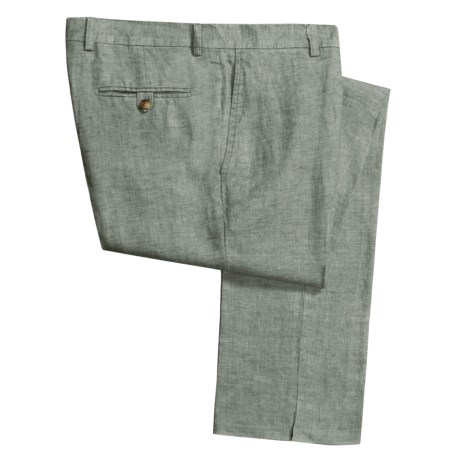 Hickey Freeman Linen Delave Pants - Flat Front (For Men)
