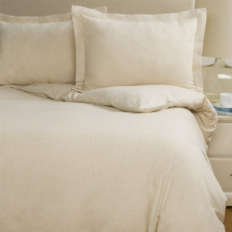Wulfing Dormisette Cotton-Linen Stripe Flannel Duvet Cover Set - Queen