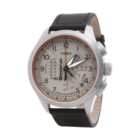 Timex Intelligent Quartz Linear Chronograph Tachymeter Watch - Leather Strap (For Men)