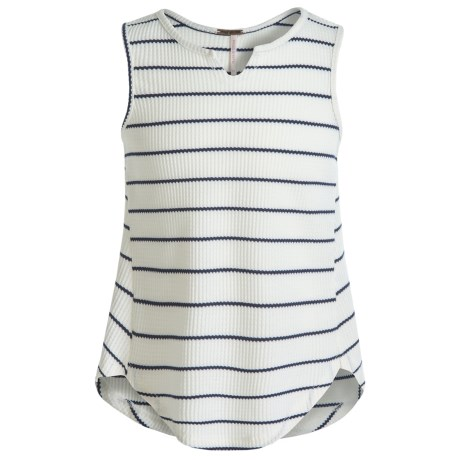 Poof Too Waffle-Knit Tank Top - Notched Hem (For Big Girls)