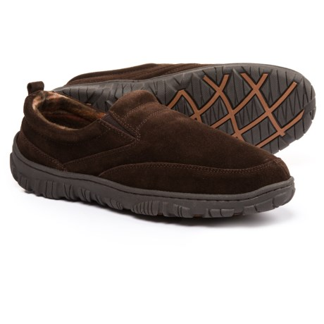 Clarks Moc Slippers with Plaid Fleece Lining - Suede (For Men)