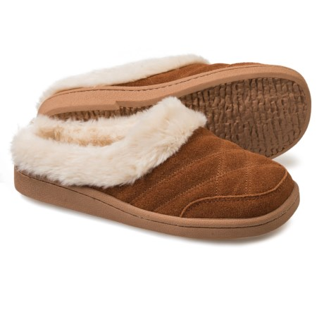 Clarks Quilted Clog Slippers - Suede (For Women)