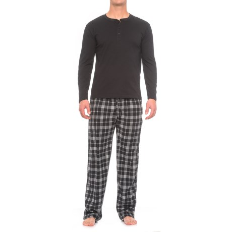 Majestic Solid Henley and Fleece Pajamas - Long Sleeve (For Men)