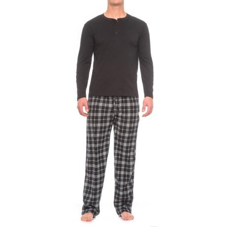 Majestic Solid Henley and Fleece Pajamas - Long Sleeve (For Men)