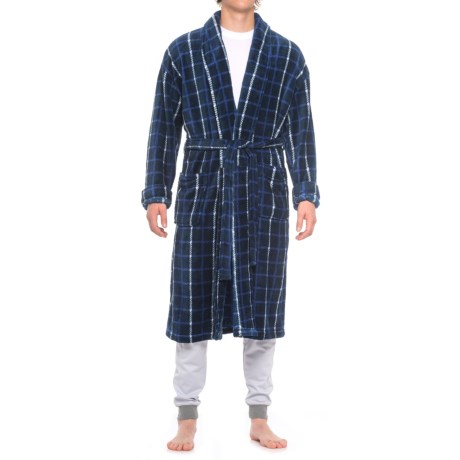 Majestic Fancy Plush Fleece Robe - Long Sleeve (For Men)
