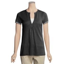 Lauren Hansen Linen-Rich Tunic Shirt - Split Neck, Short Sleeve (For Women)