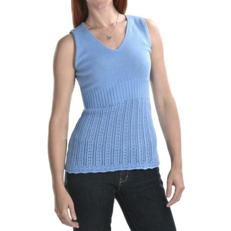 Lauren Hansen Cotton Pointelle Sweater - Sleeveless, V-Neck (For Women)
