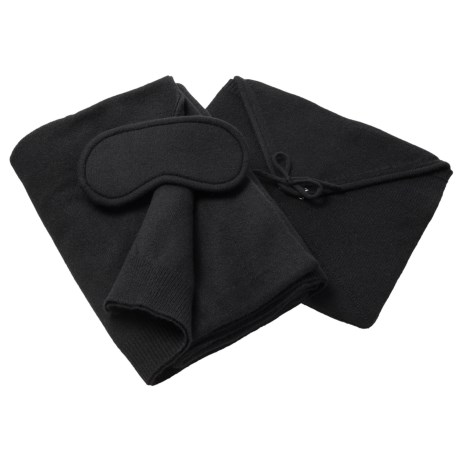 Tahari Cashmere Travel Blanket, Eye Mask and Pouch Set - Boxed Gift Set (For Women)