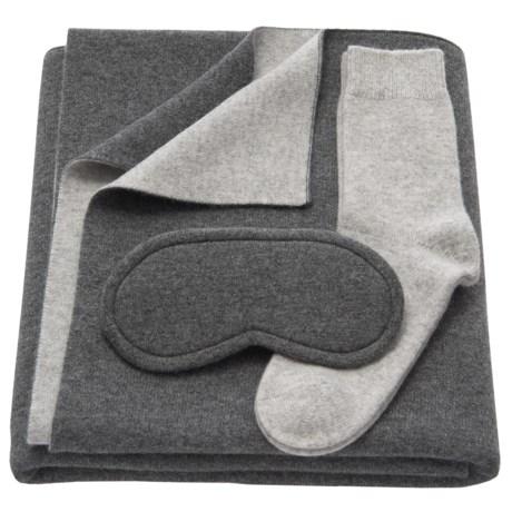 Tahari Cashmere Travel Blanket, Eye Mask and Socks Set - Boxed Gift Set (For Women)