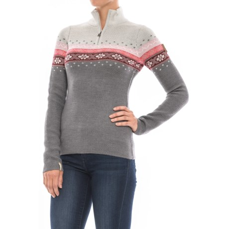 Meister Daisy Jaquard Sweater - Zip Neck (For Women)