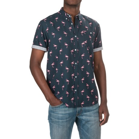 Free Nature Flamingo Printed Shirt - Woven Cotton, Short Sleeve (For Men)