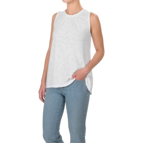 Specially made Lace-Trimmed Cotton-Modal Shirt - Sleeveless (For Women)
