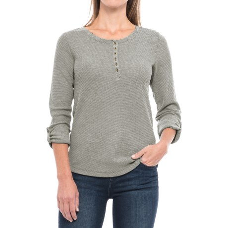 Specially made Waffle-Knit Mixed Yarn Henley Shirt - Long Sleeve (For Women)