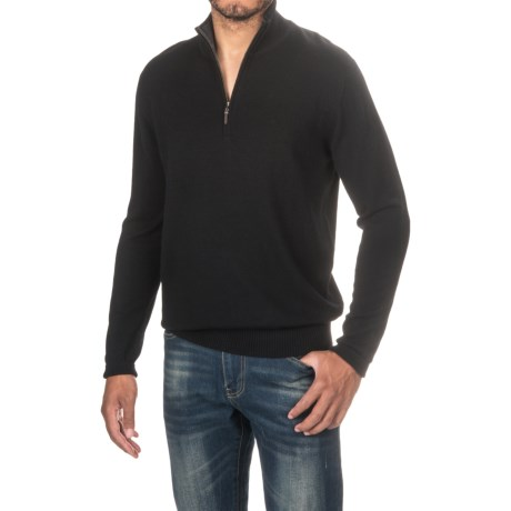 Forte Cashmere Classic Sweater - Zip Neck (For Men)