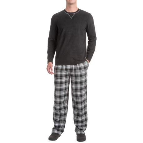 Izod IZOD Crew Neck Shirt and Flannel Pants Sleep Set - Long Sleeve (For Men)