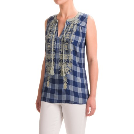 dylan Vintage Buffalo Checks Embroidered Shirt - Sleeveless (For Women)