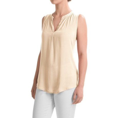 dylan Solid Tunic Shirt - Sleeveless (For Women)