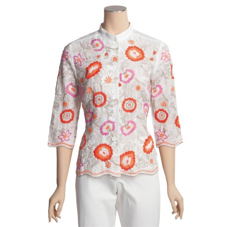 Bogner Embroidered Linen Elly-I Shirt - 3/4 Sleeve (For Women)