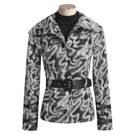 Chokolat Faux-Fur Coat - Faux-Leather Belt (For Women)