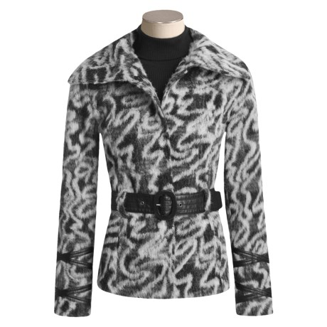 Chokolat Faux-Fur Coat - Faux-Leather Belt (For Women)