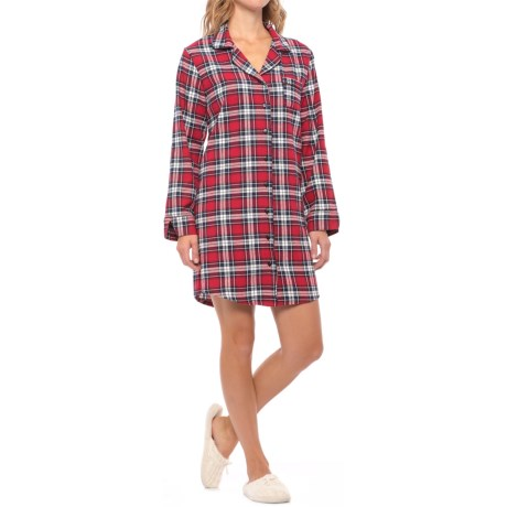 KayAnna Flannel Nightshirt - Long Sleeve (For Women)