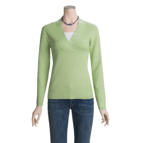 ALPS Devon Cotton-Rich Sweater - Cross-Over V-Neck (For Women)