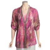 Think Tank Chloe Crepe Shirt - V-Neck, 3/4 Sleeve (For Women)