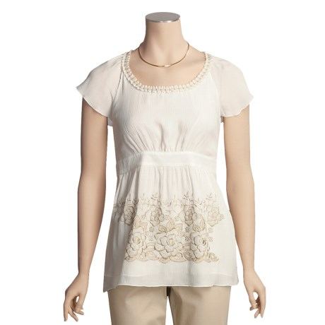 Think Tank Crinkle Silk Shirt - Embroidered, Short Sleeve (For Women)