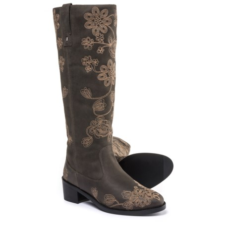 Fabianelli Made in Italy  Embroidered Tall Boots - Leather (For Women)