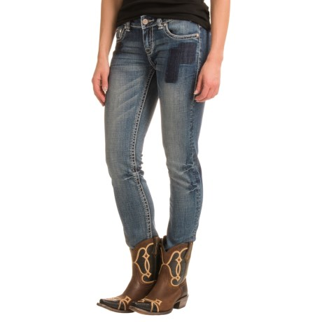 Rock & Roll Cowgirl Patched Skinny Jeans - Low Rise (For Women)