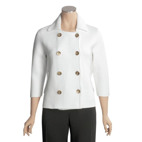 Magaschoni Cotton Pea Coat - Double-Knit, 3/4 Sleeve (For Women)
