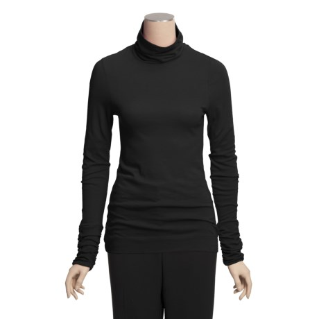 Lilla P Ruched Turtleneck - Pima Cotton Jersey, Long Sleeve (For Women)