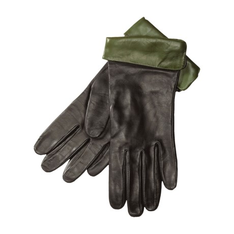 Cire by Grandoe Amber Contrast Gloves - Sheepskin Leather, Cashmere Lining (For Women)