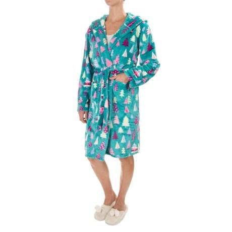 Little Blue House Hatley Fleece Plush Hooded Robe - Long Sleeve (For Women)