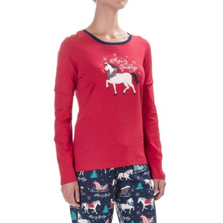 Little Blue House Holiday Print T-Shirt - Long Sleeve (For Women)